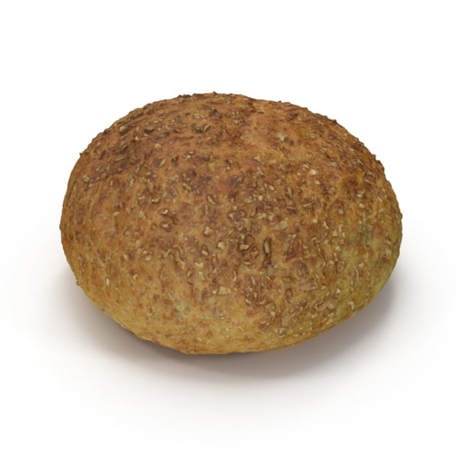 Brown Bread Roll royalty-free 3d model - Preview no. 6