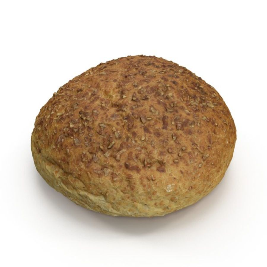 Brown Bread Roll royalty-free 3d model - Preview no. 4