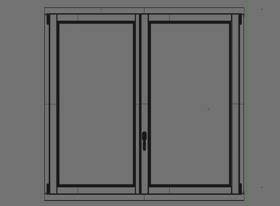 Wooden Double Window royalty-free 3d model - Preview no. 7