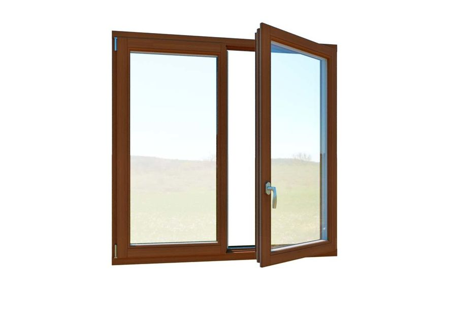 Wooden Double Window royalty-free 3d model - Preview no. 2