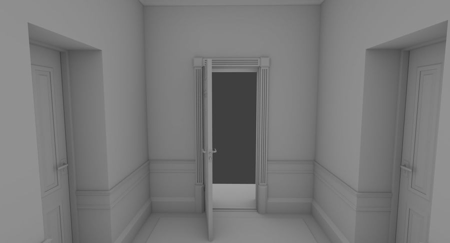 Brick apartment five with interior royalty-free 3d model - Preview no. 9