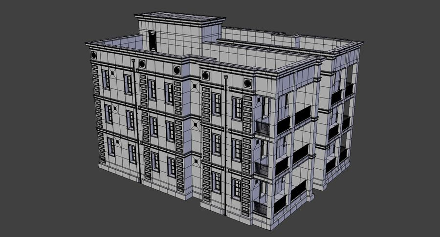 Brick apartment five with interior royalty-free 3d model - Preview no. 22