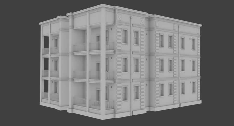 Brick apartment five with interior royalty-free 3d model - Preview no. 4