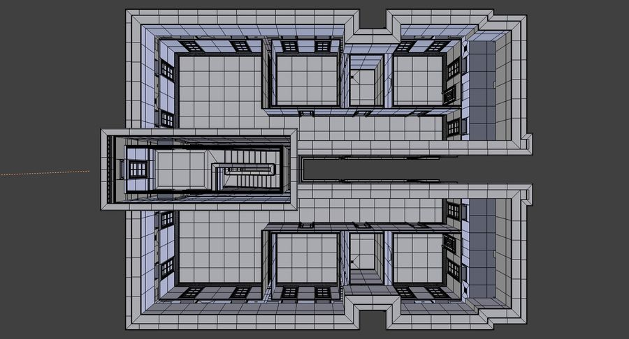 Brick apartment five with interior royalty-free 3d model - Preview no. 29