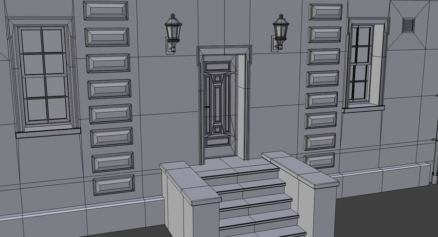 Brick apartment five with interior royalty-free 3d model - Preview no. 23
