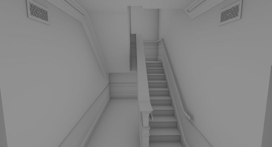 Brick apartment five with interior royalty-free 3d model - Preview no. 10