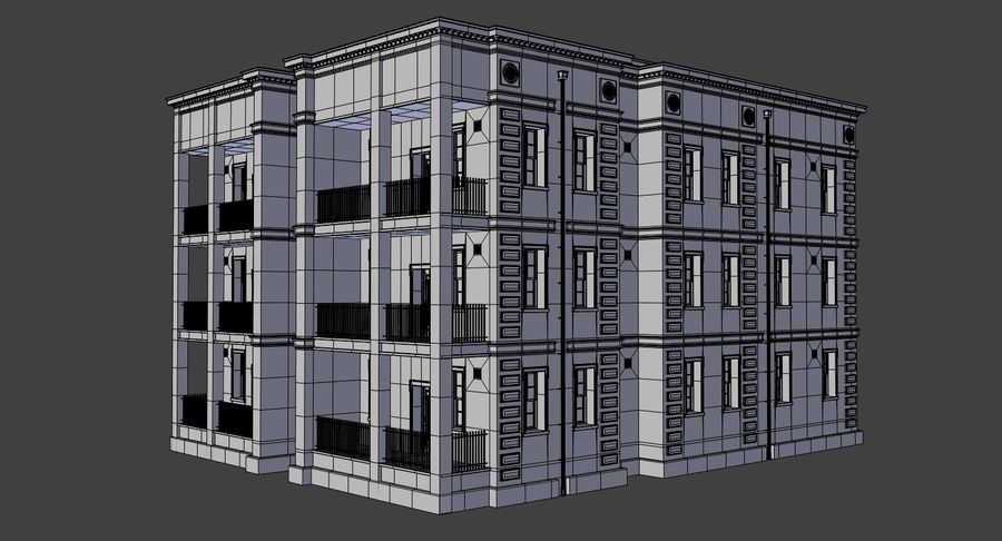 Brick apartment five with interior royalty-free 3d model - Preview no. 21