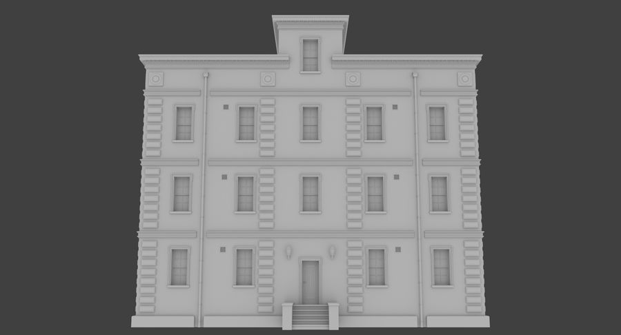 Brick apartment five with interior royalty-free 3d model - Preview no. 2
