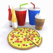 Cartoon Pizza Meal 3d model