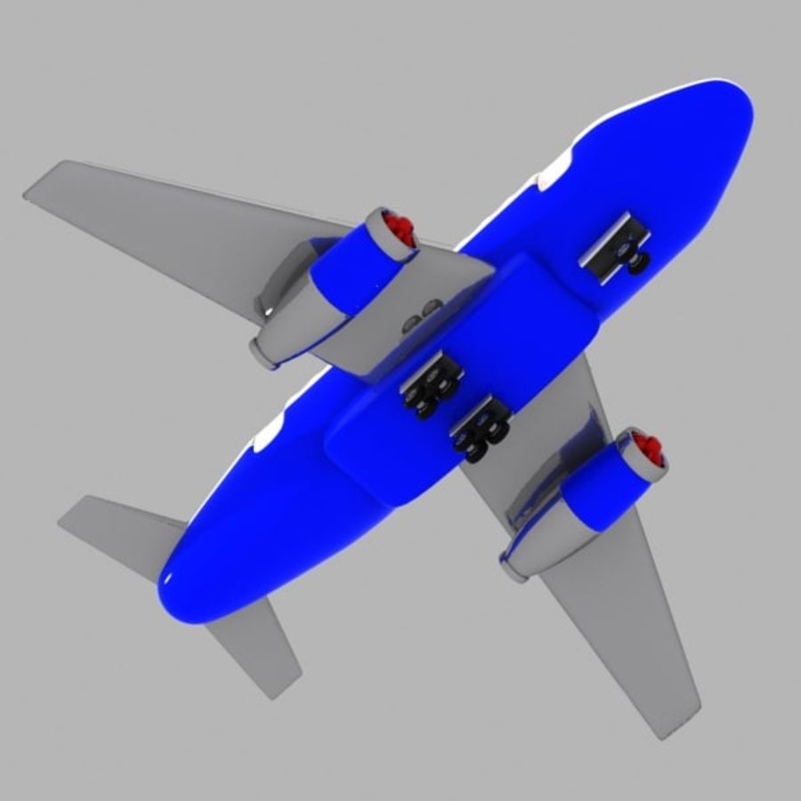 Toon Commercial Aircraft royalty-free 3d model - Preview no. 6