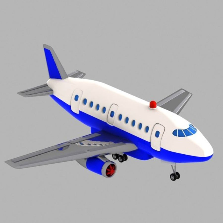 Toon Commercial Aircraft royalty-free 3d model - Preview no. 4