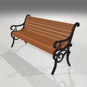 Parkbank: hout en gietijzer 3d model