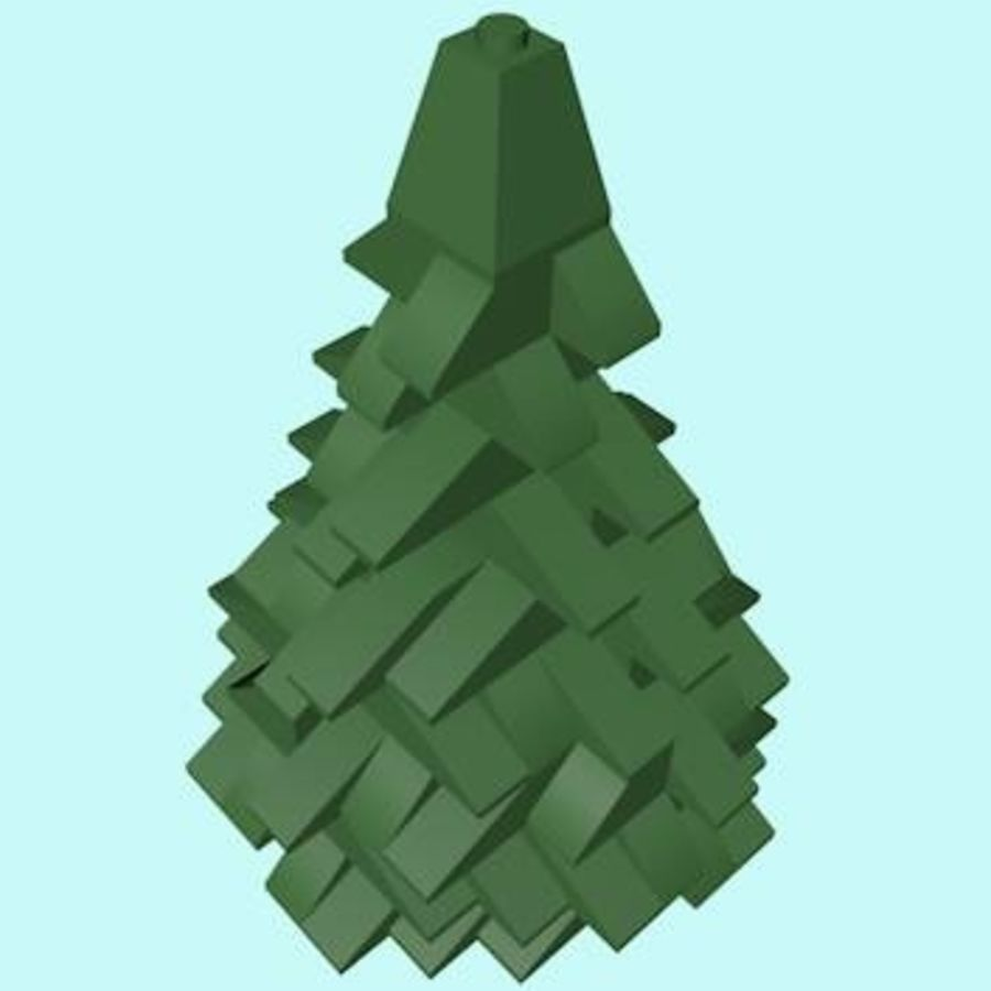 LEGO Christmas Conifer Tree (Low Poly) royalty-free 3d model - Preview no. 3