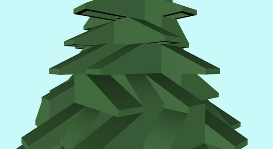 LEGO Christmas Conifer Tree (Low Poly) royalty-free 3d model - Preview no. 2