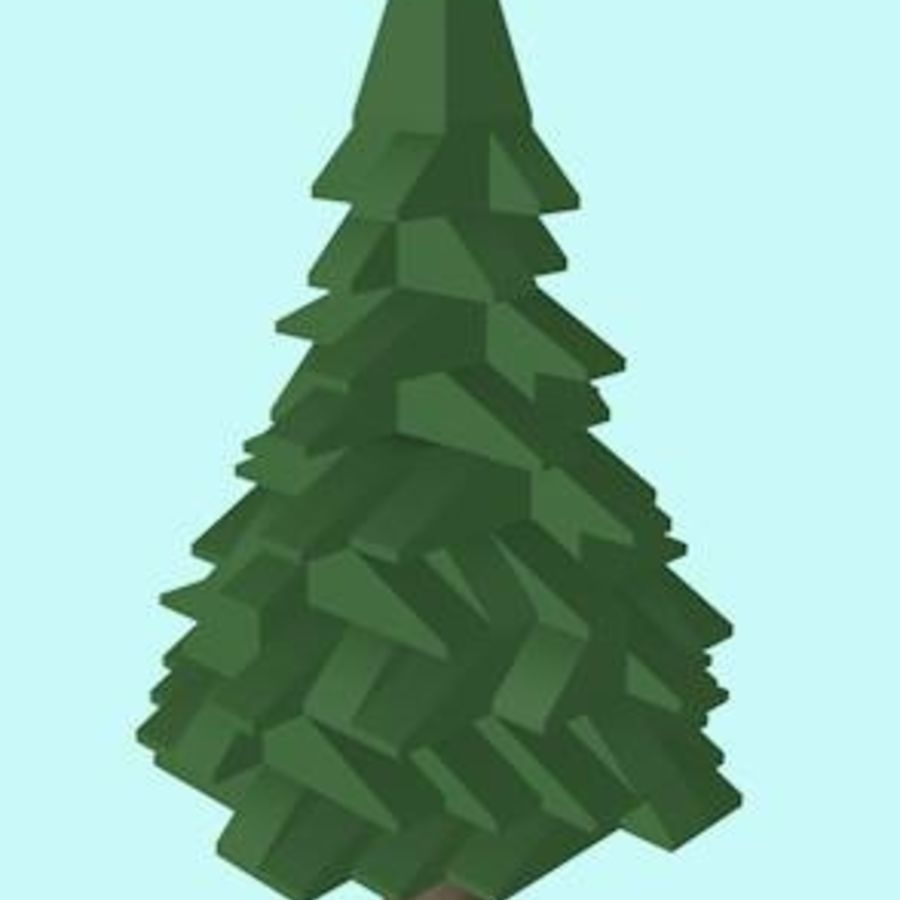 LEGO Christmas Conifer Tree (Low Poly) royalty-free 3d model - Preview no. 1