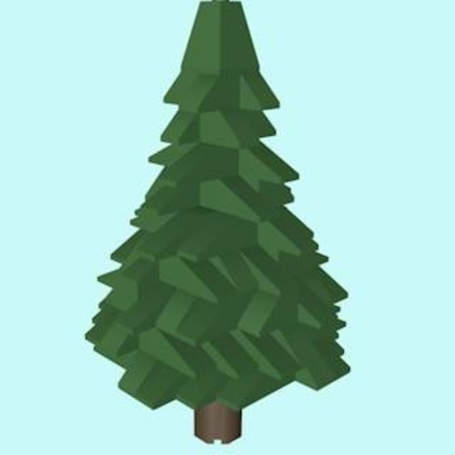 LEGO Christmas Conifer Tree (Low Poly) royalty-free 3d model - Preview no. 4