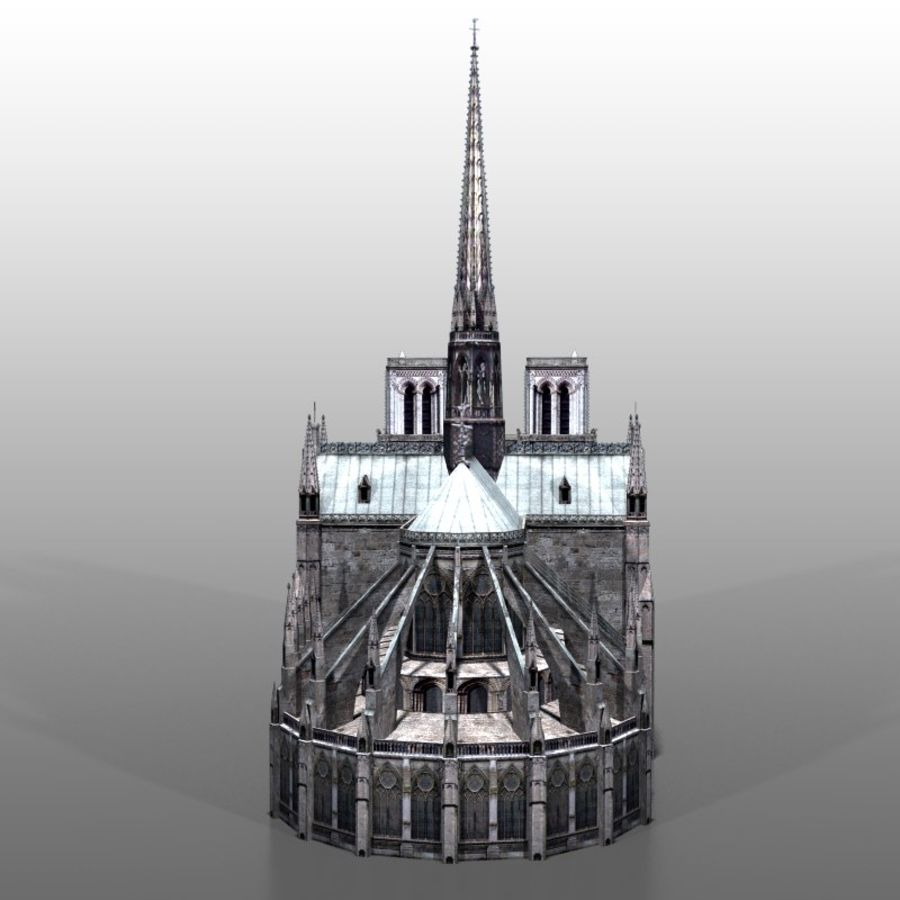 Notre Dame de Paris royalty-free 3d model - Preview no. 4