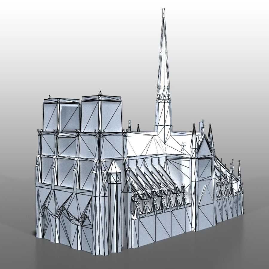 Notre Dame de Paris royalty-free 3d model - Preview no. 9