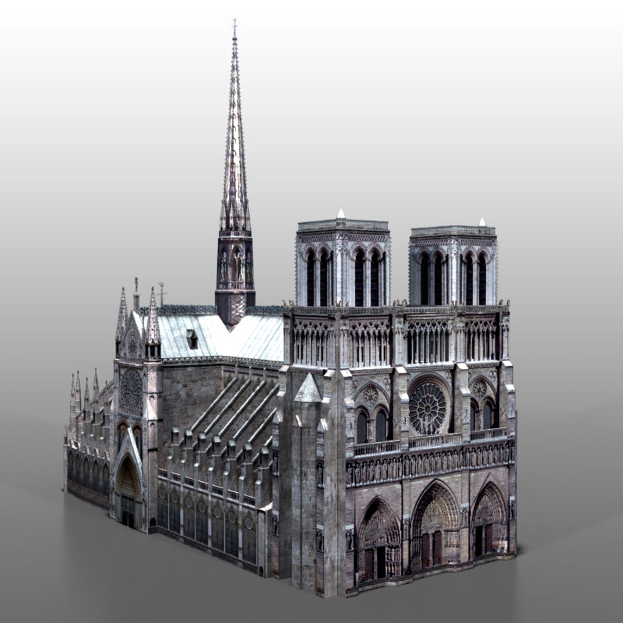 Notre Dame de Paris royalty-free 3d model - Preview no. 1