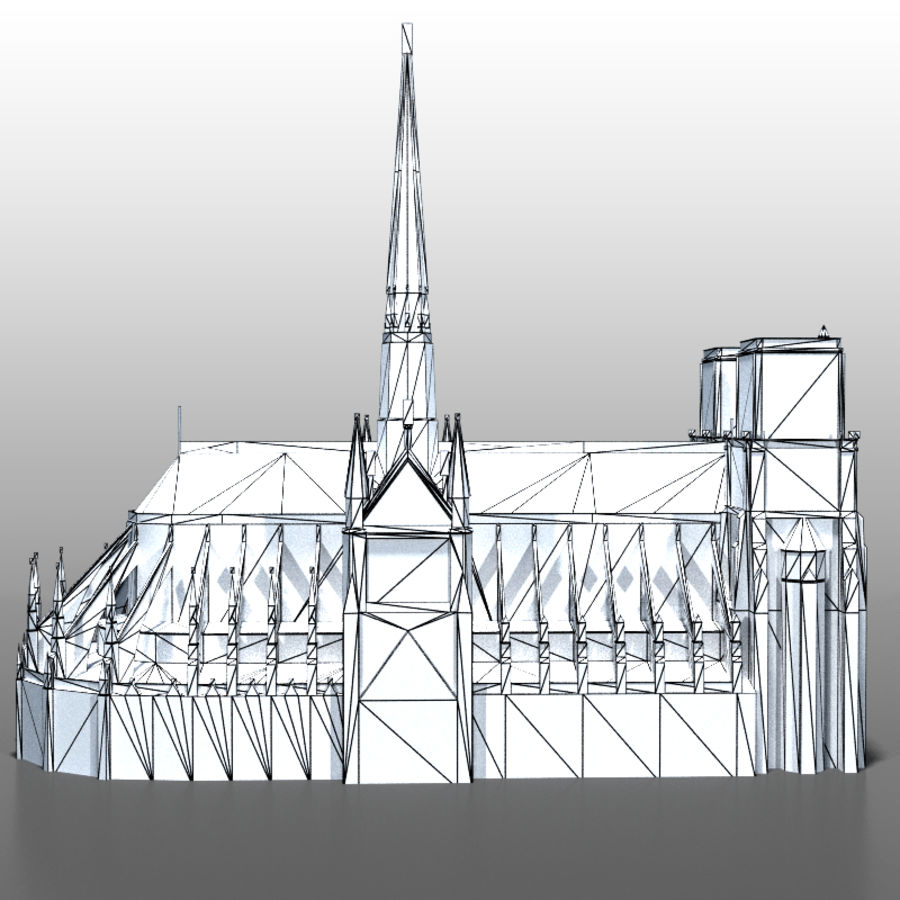 notre Dame de Paris royalty-free 3d model - Preview no. 14