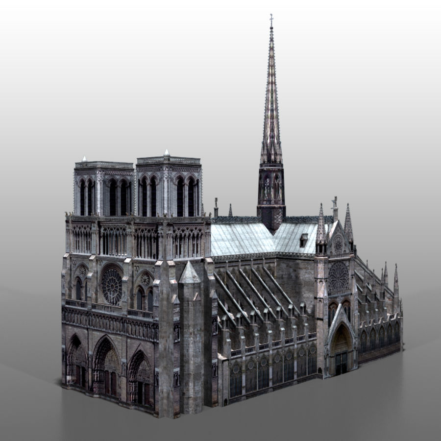 notre Dame de Paris royalty-free 3d model - Preview no. 6