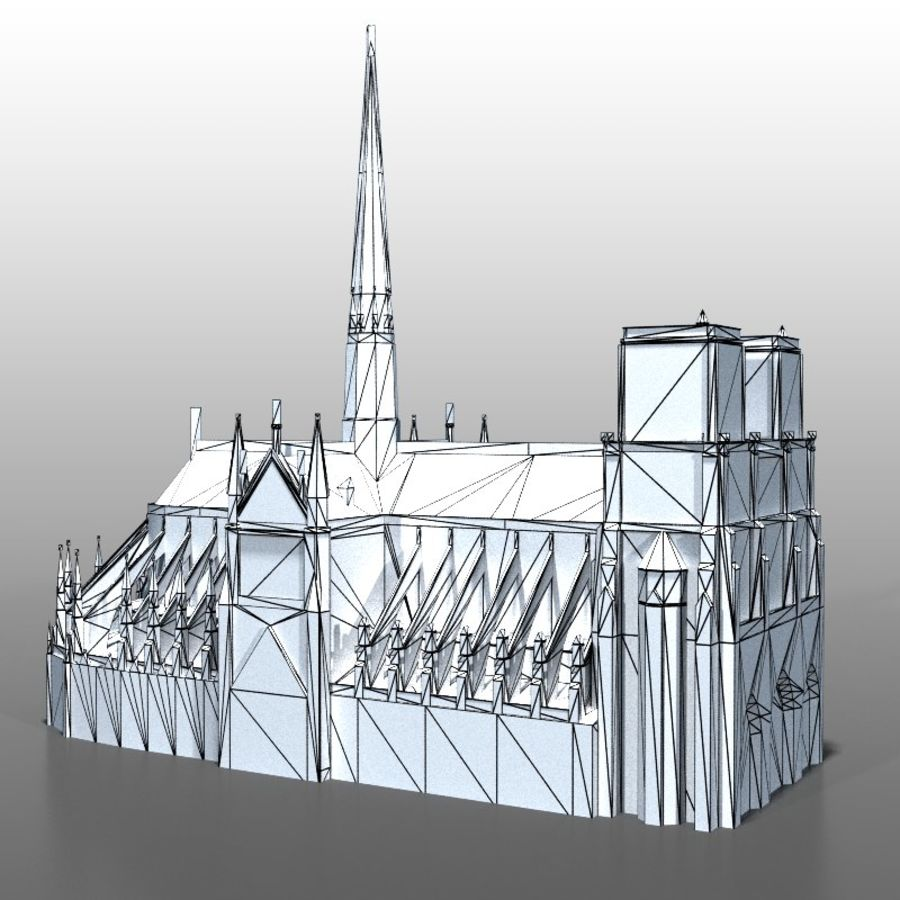 Notre Dame de Paris royalty-free 3d model - Preview no. 15