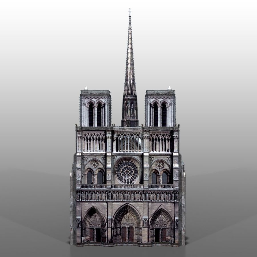 Notre Dame de Paris royalty-free 3d model - Preview no. 7
