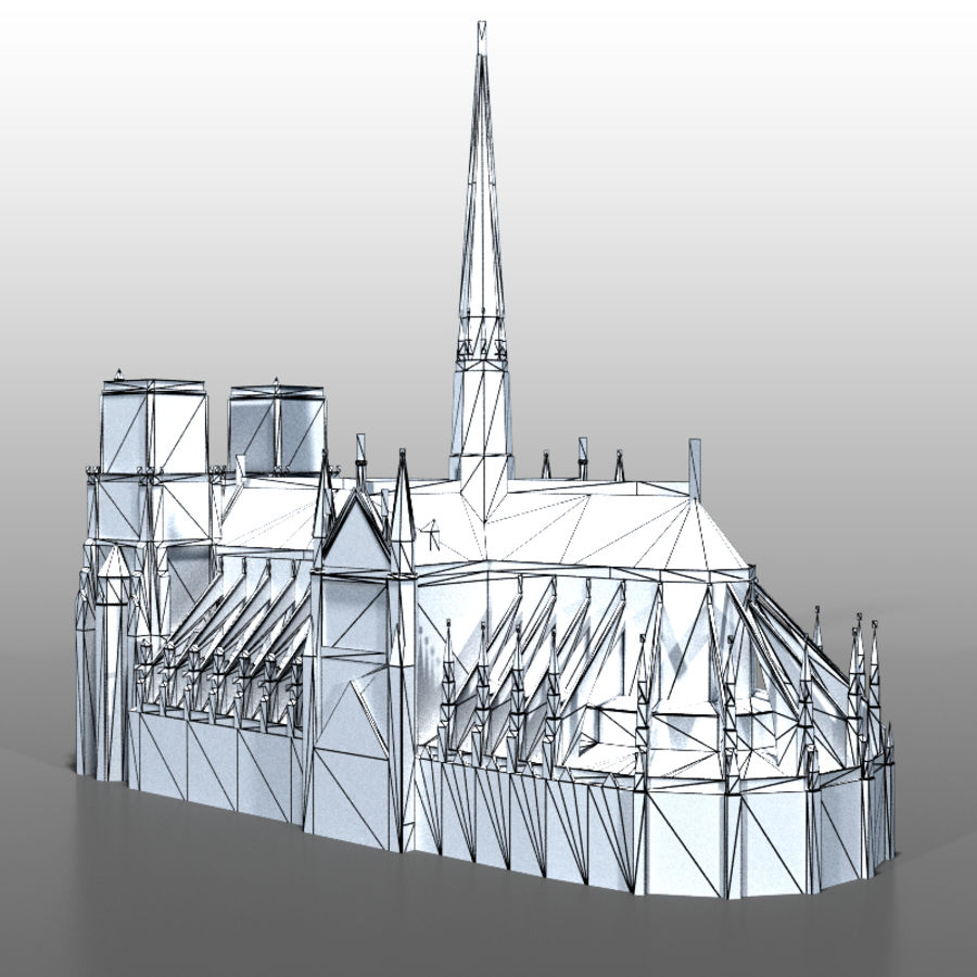 Notre Dame de Paris royalty-free 3d model - Preview no. 11