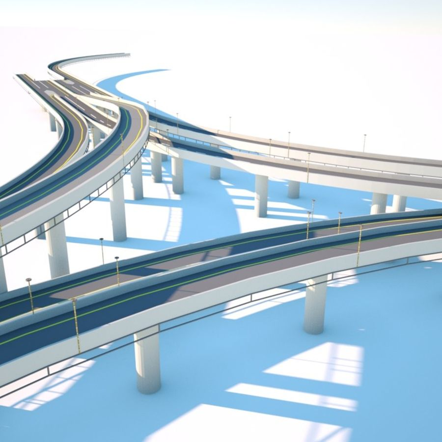 Road junction 3 Octane royalty-free 3d model - Preview no. 3