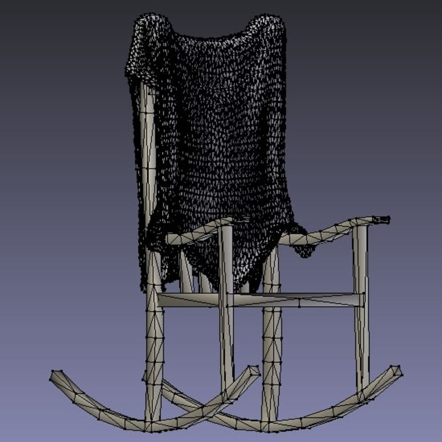 Rocking Chair with Animal Skin royalty-free 3d model - Preview no. 3
