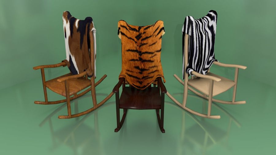 Rocking Chair with Animal Skin royalty-free 3d model - Preview no. 1