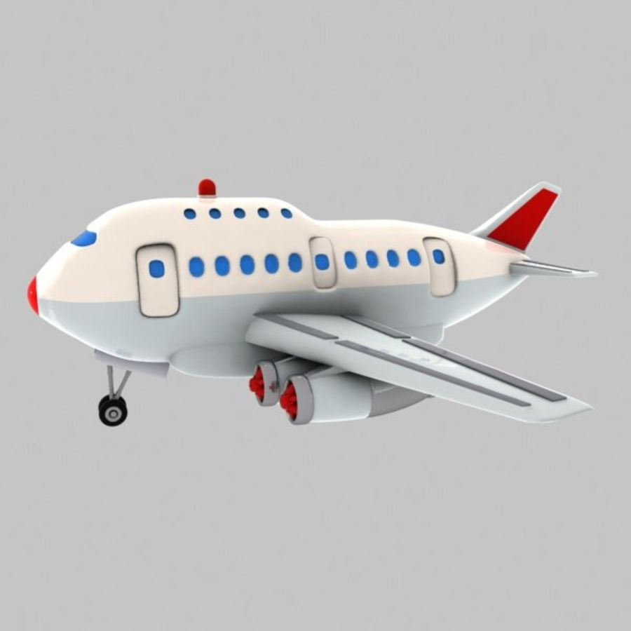 Cartoon Wide-Body Aircraft royalty-free 3d model - Preview no. 4