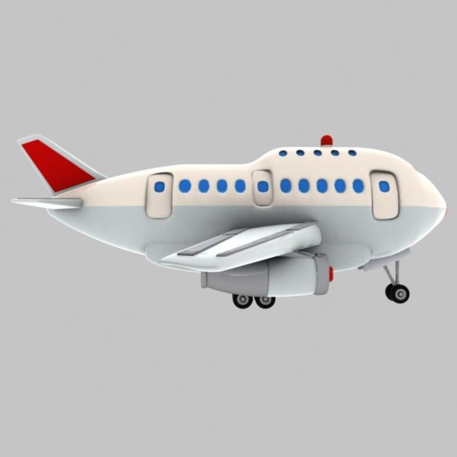 Cartoon Wide-Body Aircraft royalty-free 3d model - Preview no. 8