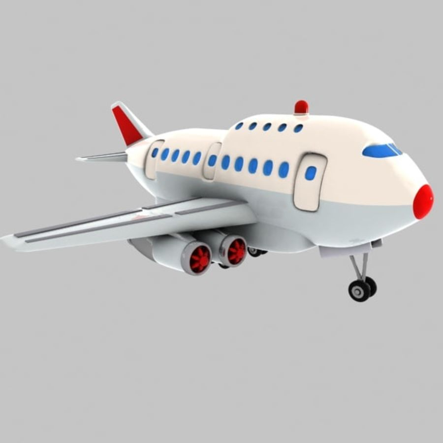 Cartoon Wide-Body Aircraft royalty-free 3d model - Preview no. 2