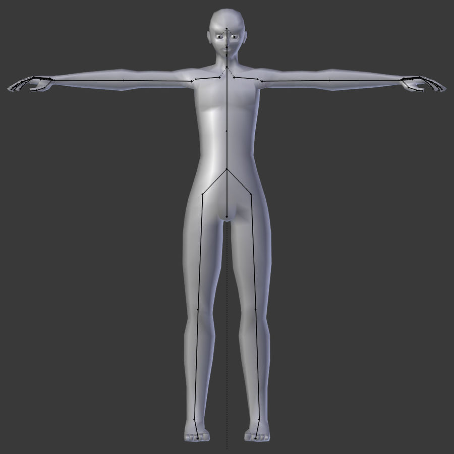 Simple Low-poly Base Mesh - Male royalty-free 3d model - Preview no. 8