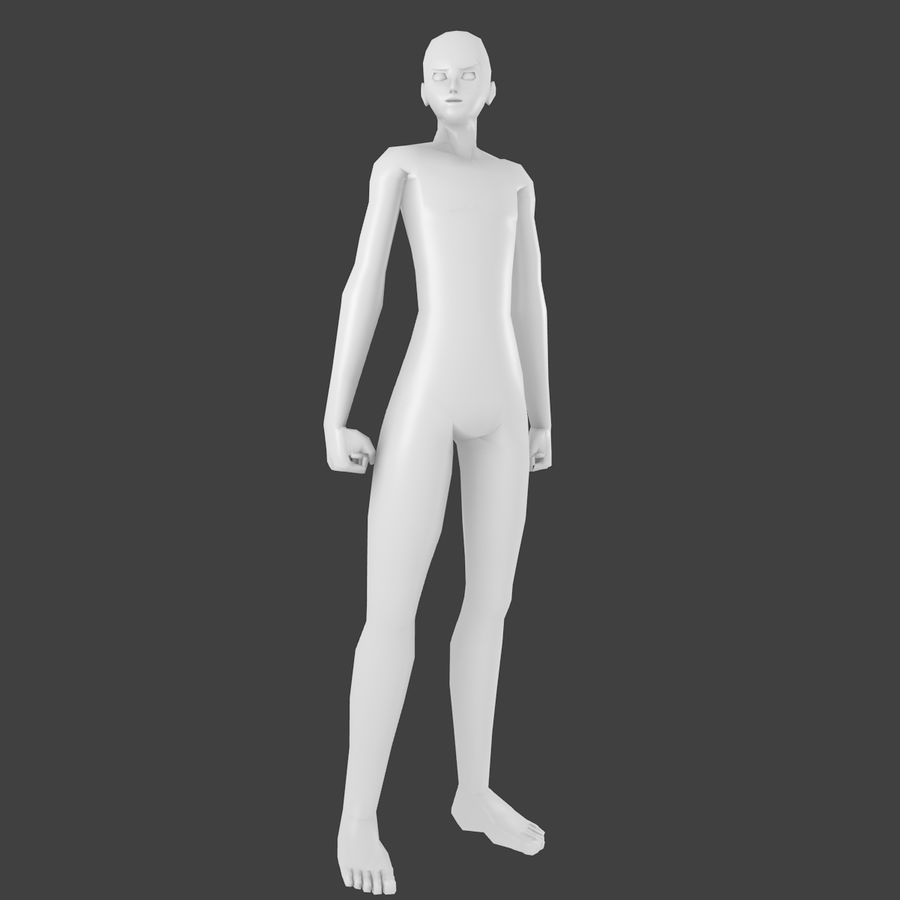 Simple Low-poly Base Mesh - Male royalty-free 3d model - Preview no. 1