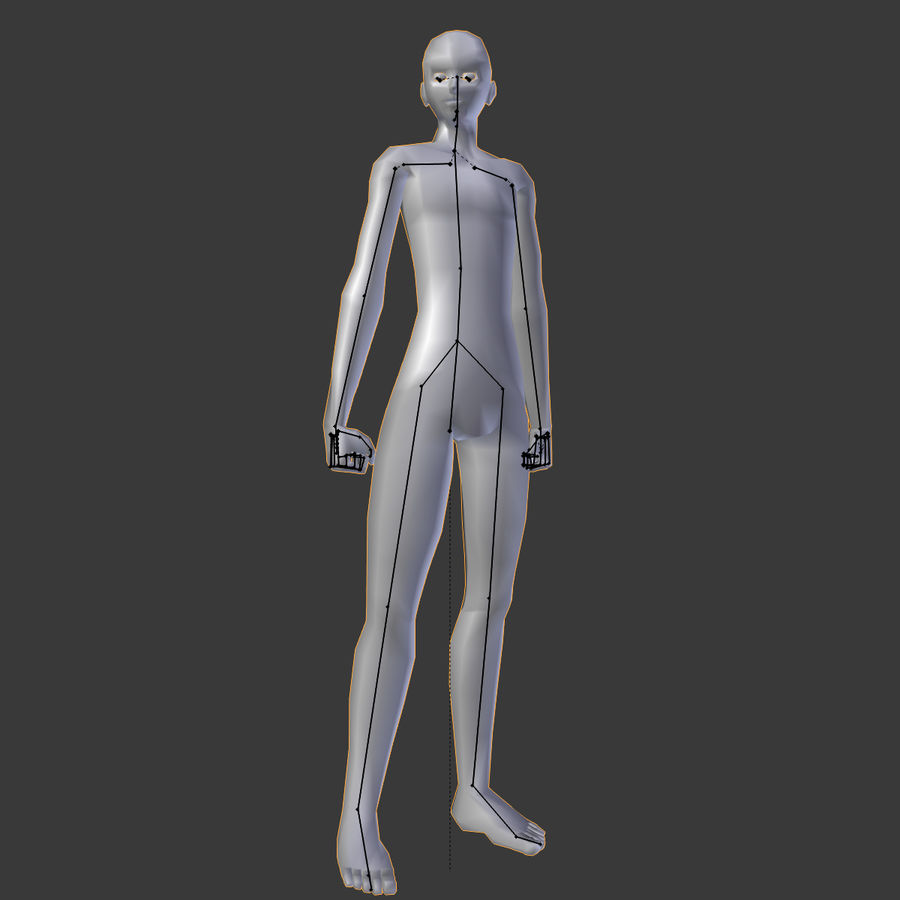 Simple Low-poly Base Mesh - Male royalty-free 3d model - Preview no. 9