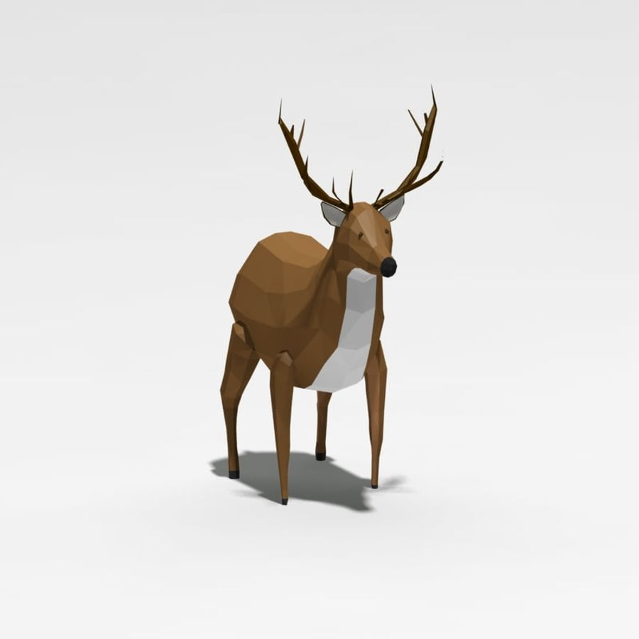 Veado poli baixo dos desenhos animados royalty-free 3d model - Preview no. 2