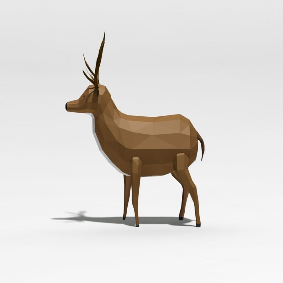 Veado poli baixo dos desenhos animados royalty-free 3d model - Preview no. 4