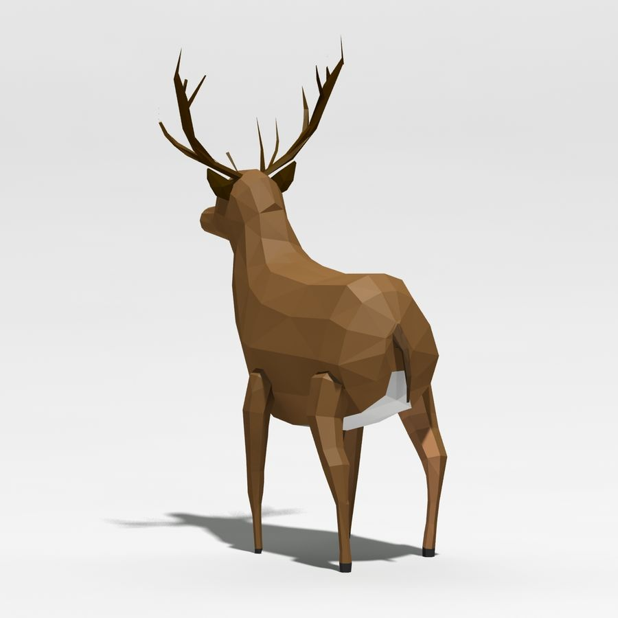 Veado poli baixo dos desenhos animados royalty-free 3d model - Preview no. 5