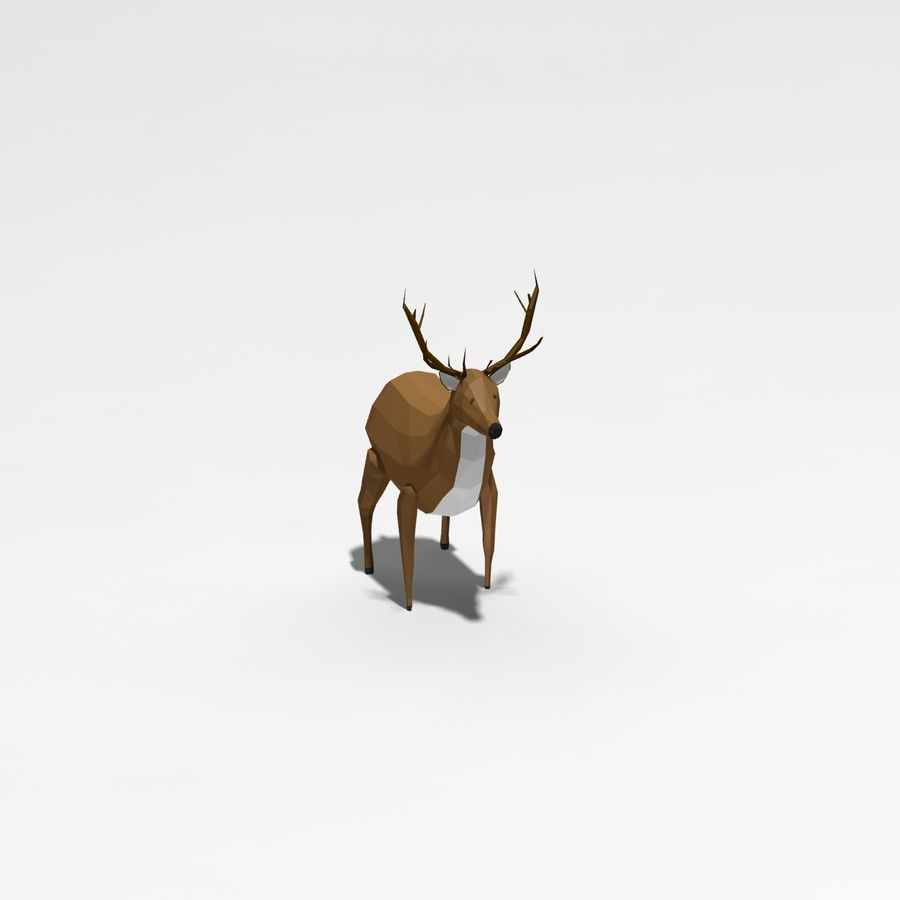 Veado poli baixo dos desenhos animados royalty-free 3d model - Preview no. 7