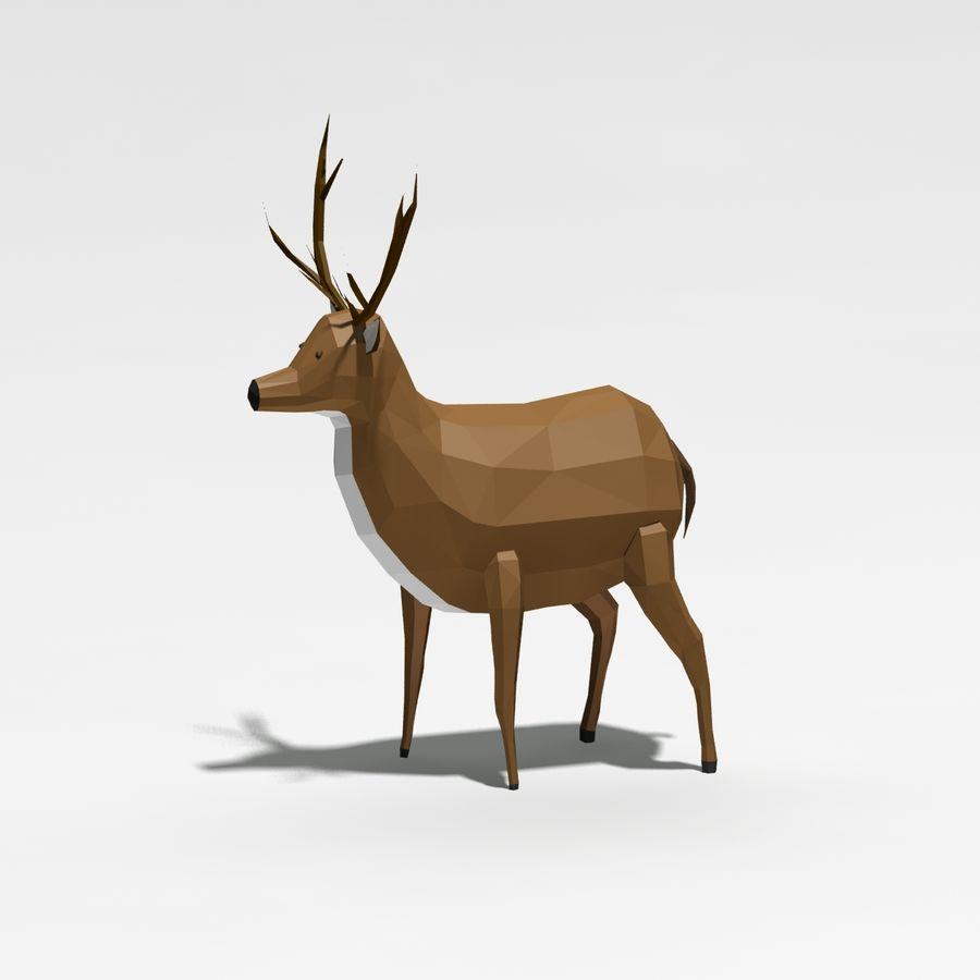 Veado poli baixo dos desenhos animados royalty-free 3d model - Preview no. 3