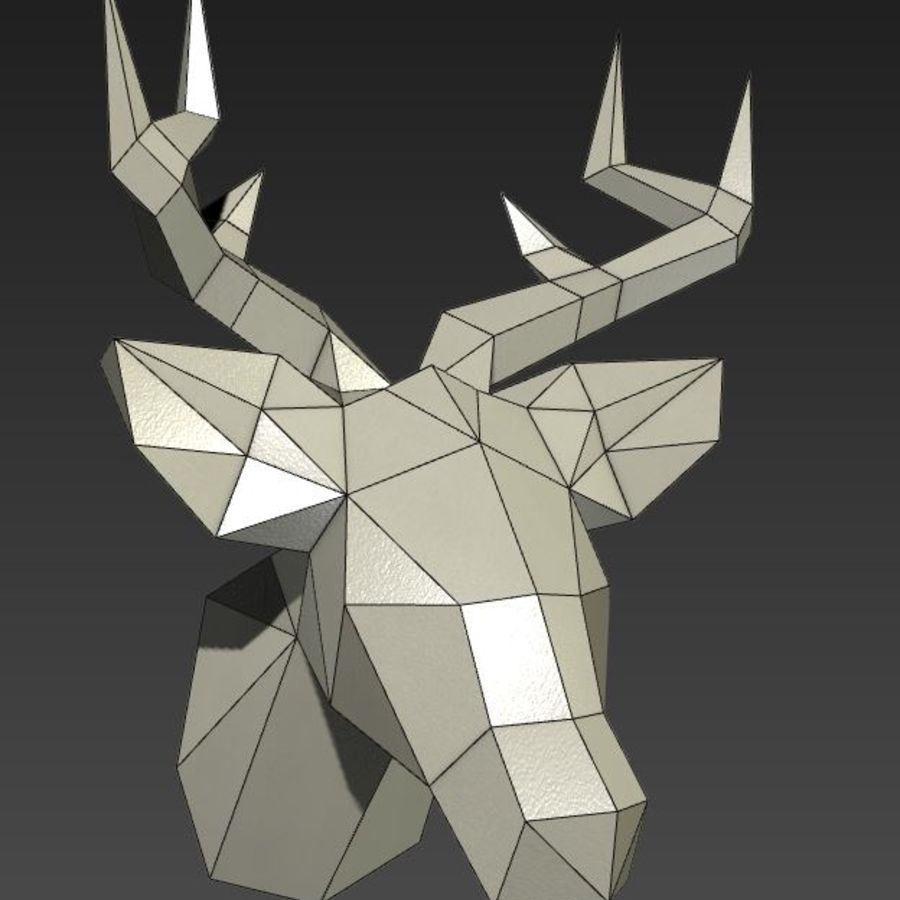 Deer Head (low poly) royalty-free 3d model - Preview no. 2