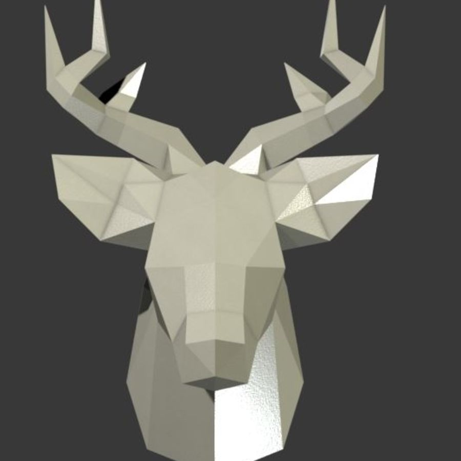 Deer Head (low poly) royalty-free 3d model - Preview no. 3