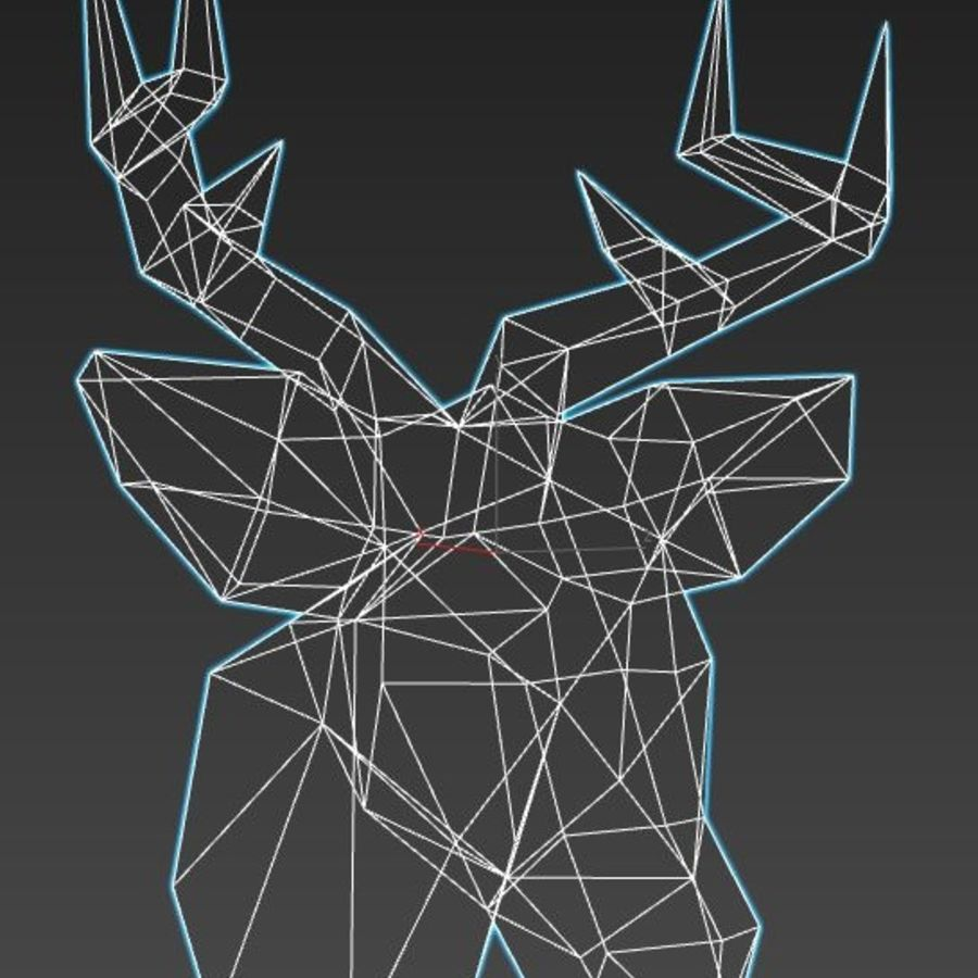 Deer Head (low poly) royalty-free 3d model - Preview no. 5