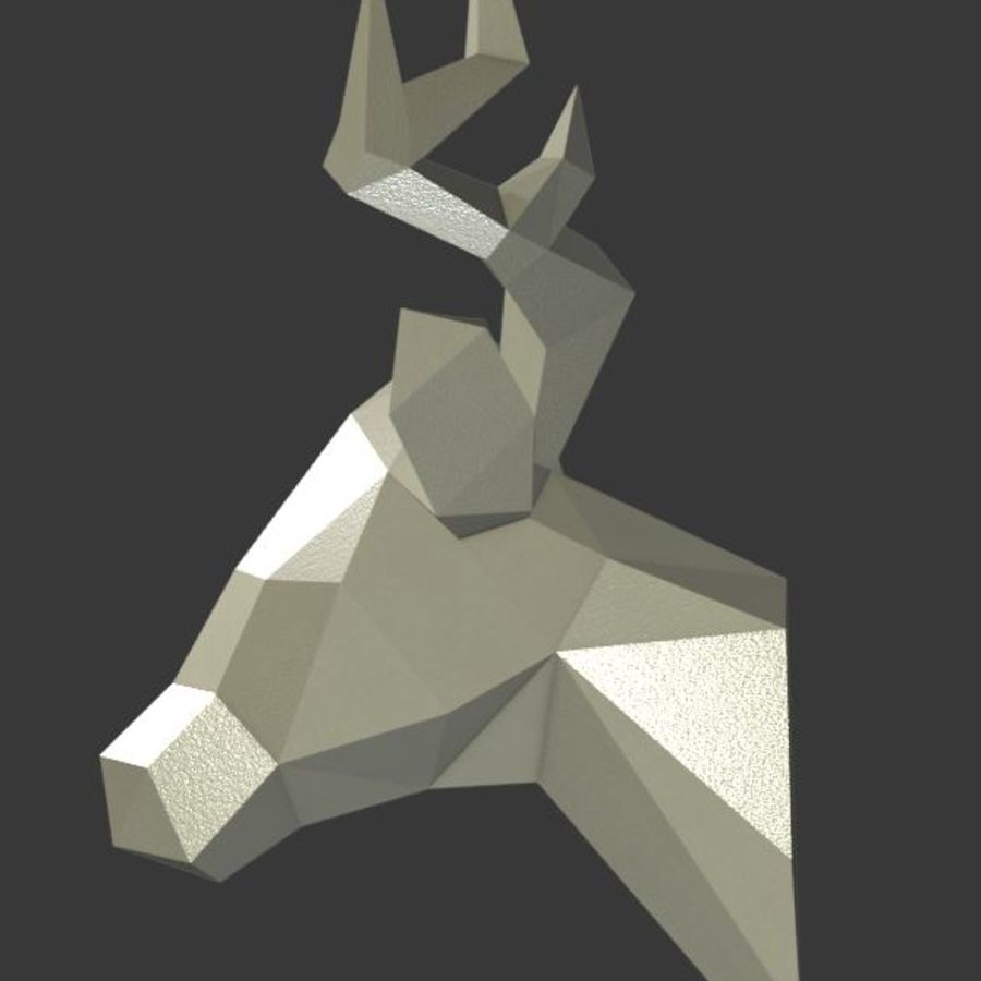 Deer Head (low poly) royalty-free 3d model - Preview no. 4