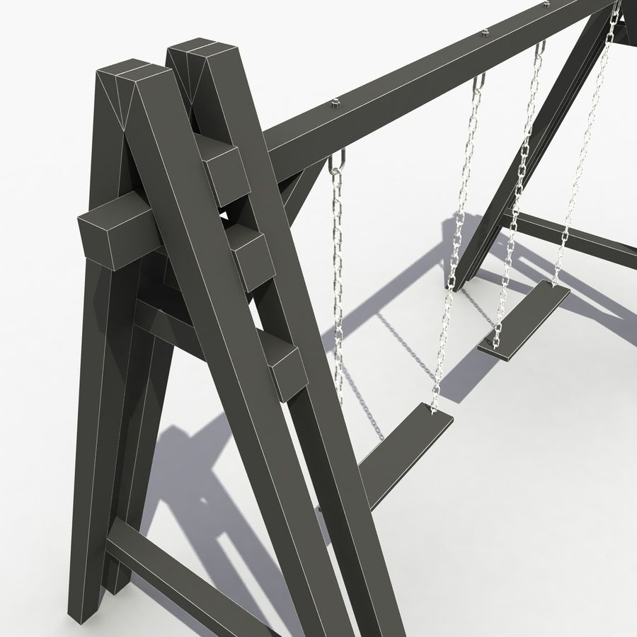 Wooden Swing royalty-free 3d model - Preview no. 9