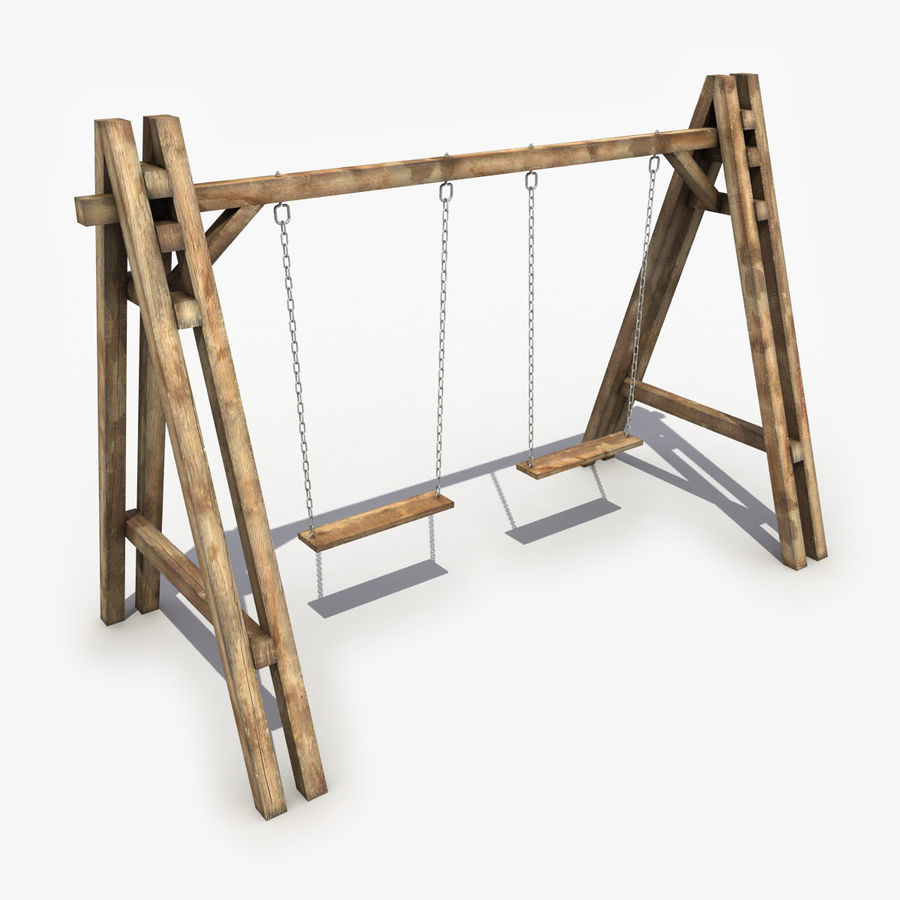 Wooden Swing royalty-free 3d model - Preview no. 1
