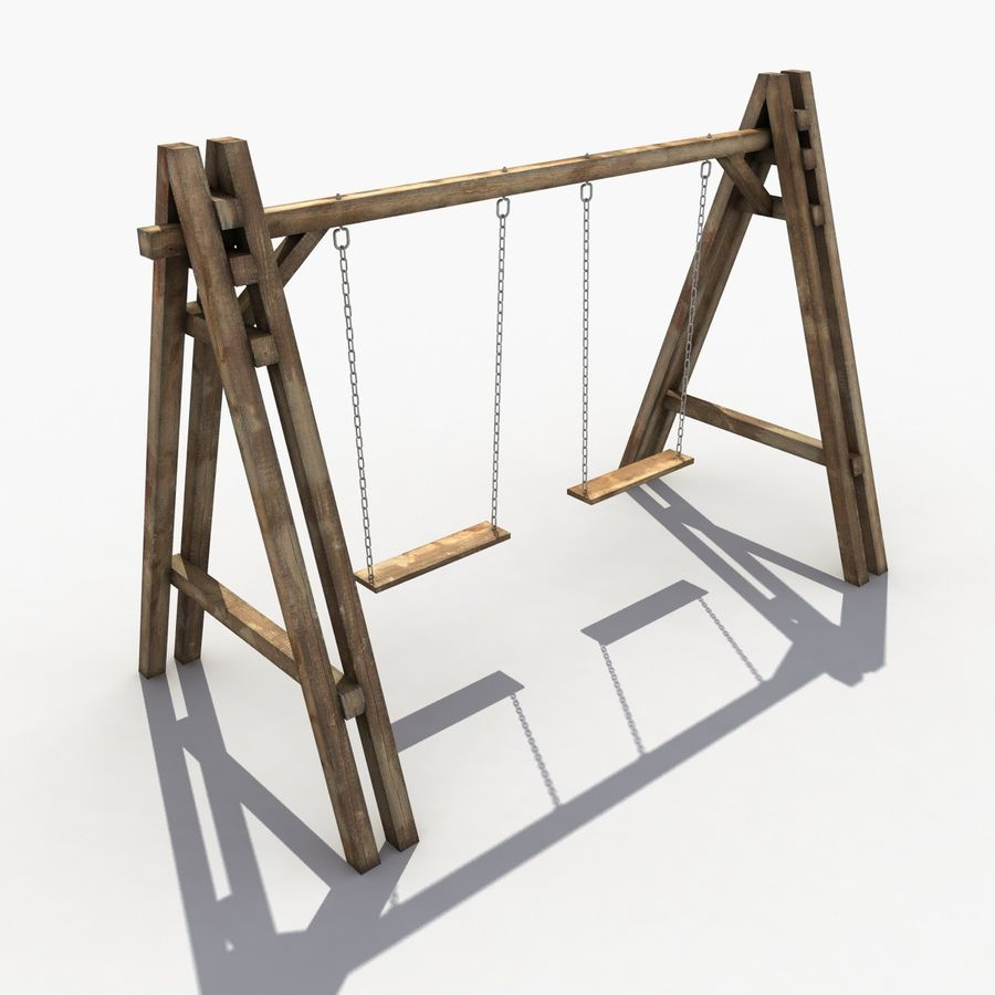 Wooden Swing royalty-free 3d model - Preview no. 4