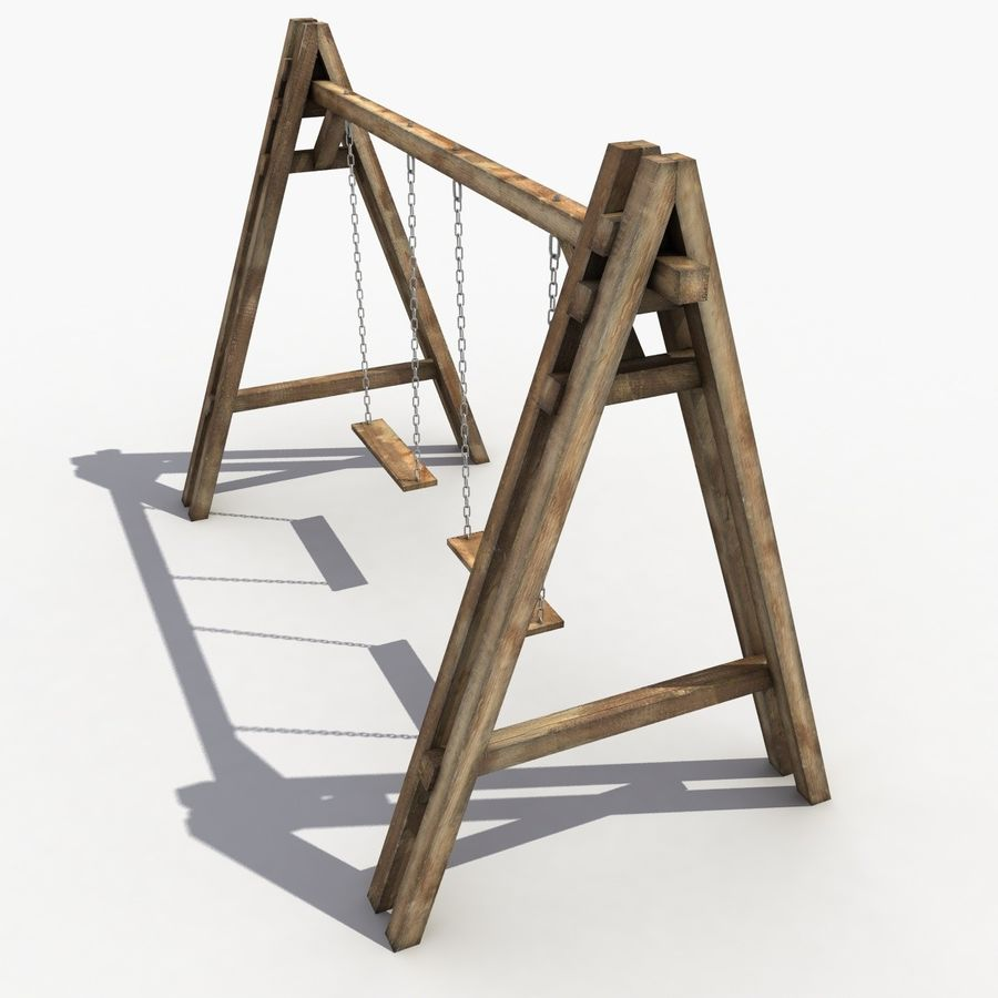 Wooden Swing royalty-free 3d model - Preview no. 5